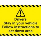 C-19 Drivers Instruction Sign 600x400