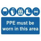 PPE Must Be Worn In This Area Sign